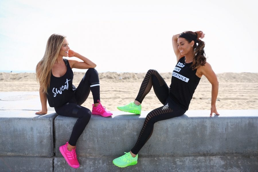 graphic fitness tanks, sweat & earn your cocktails