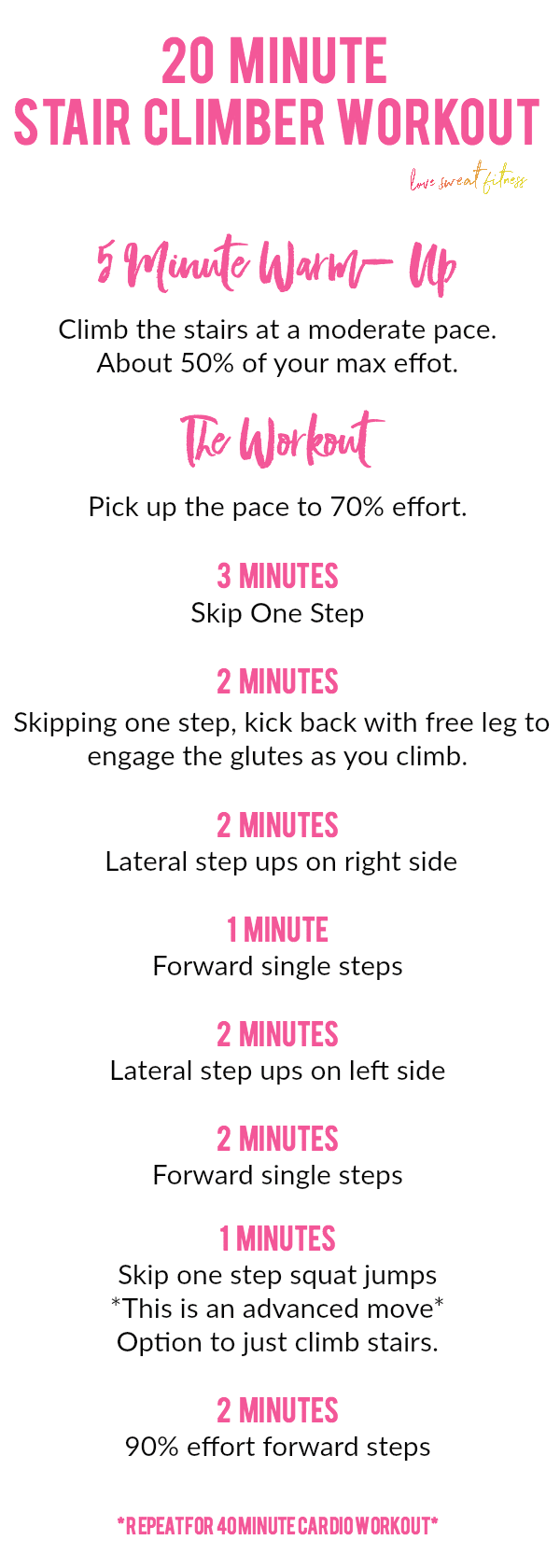 Cardio Workouts 3 Cradio Printable Stair Climber Workout