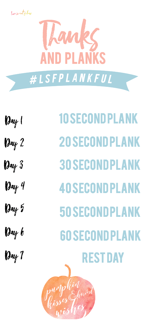 photo about Plank Challenge Printable titled Because of Planks 7 days 1 - Take pleasure in Sweat Health and fitness