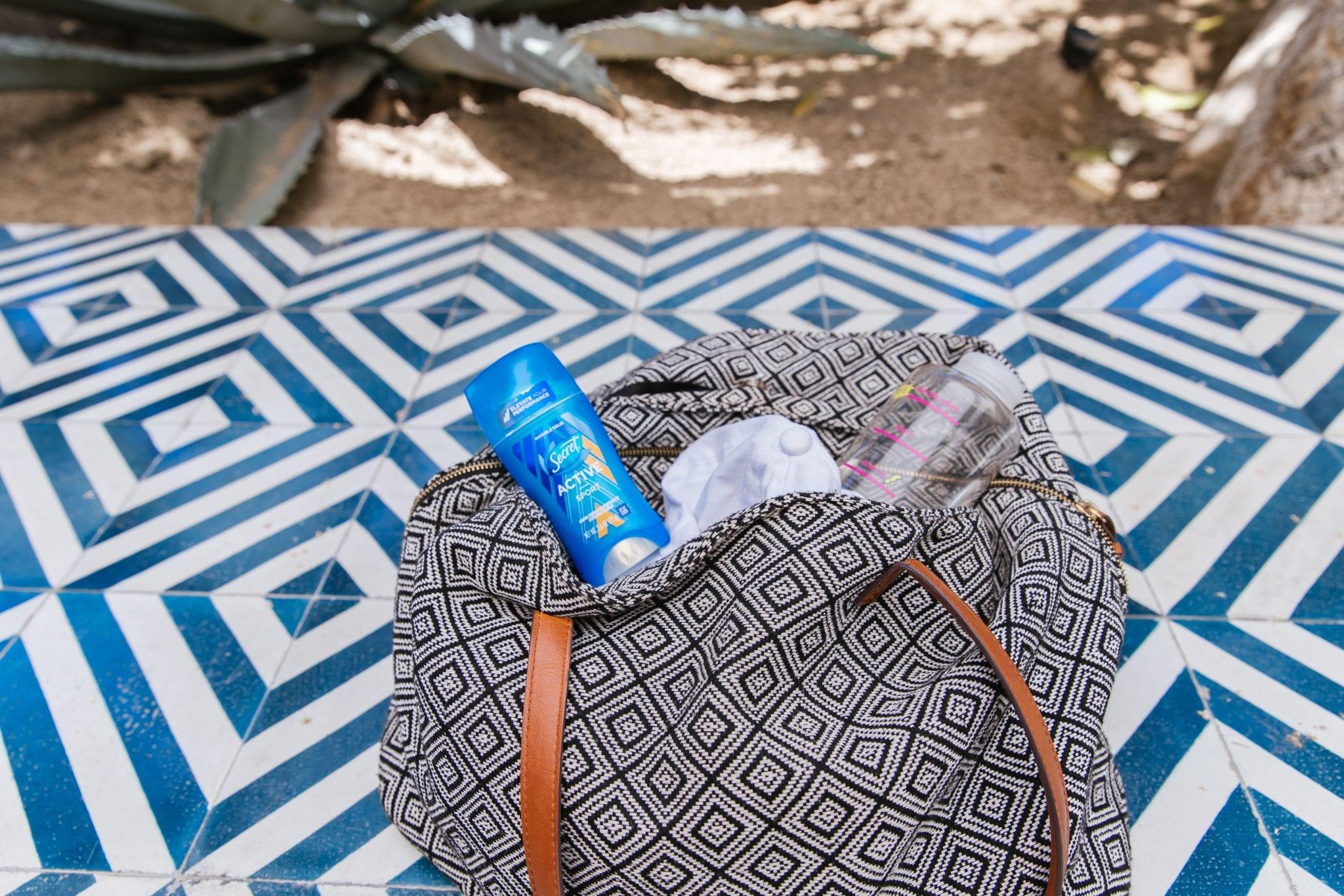 Secret deodorant, gym bag, hot weather fitness
