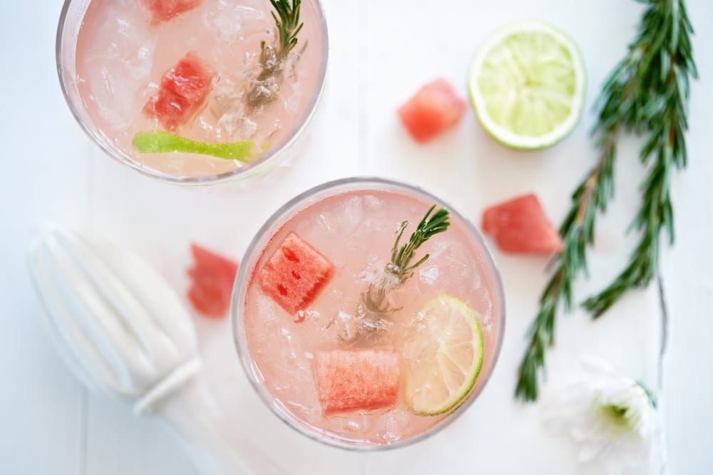 cocktails, healthy cocktails, watermelon, rosemary watermelon marg, margaritas, skinny margarita recipe