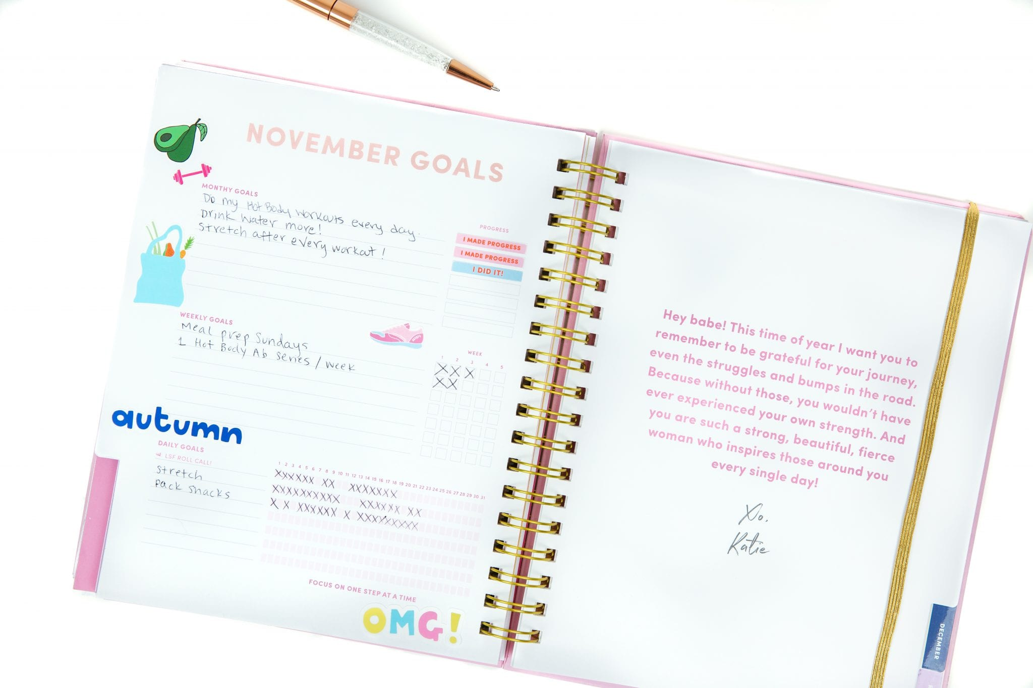 Use the monthly goal planning pages to set big-picture goals for the month, mid-level weekly goals, and daily micro-goals in a way you can track!