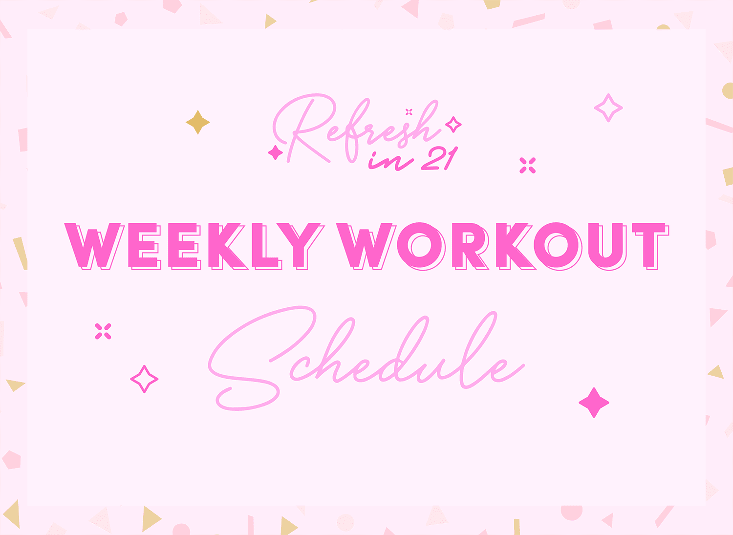 weekly workout schedule love sweat fitness