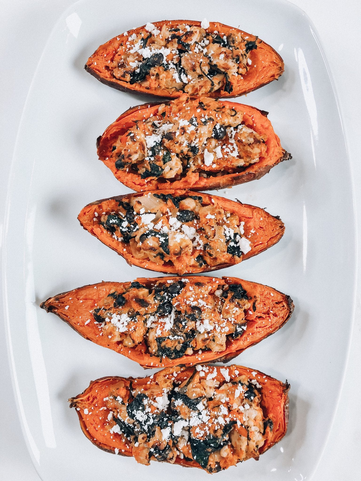 Healthy sweet potato skins, an easy, protein-packed snack for busy days or game day!