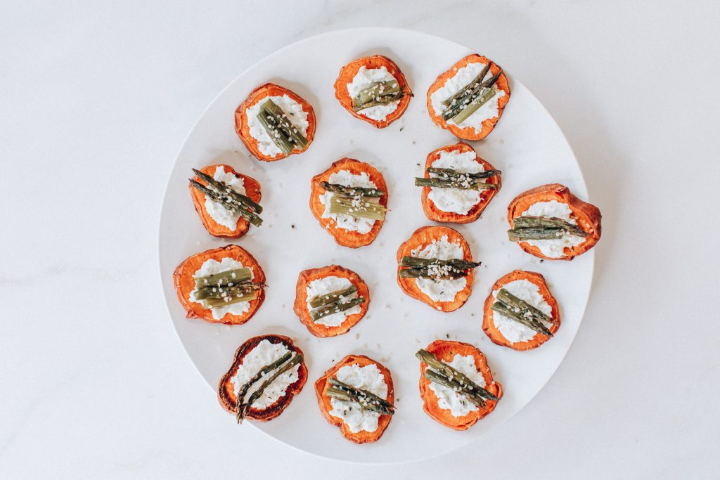 weet Potato Rounds With Roasted Goat Cheese + Asparagus