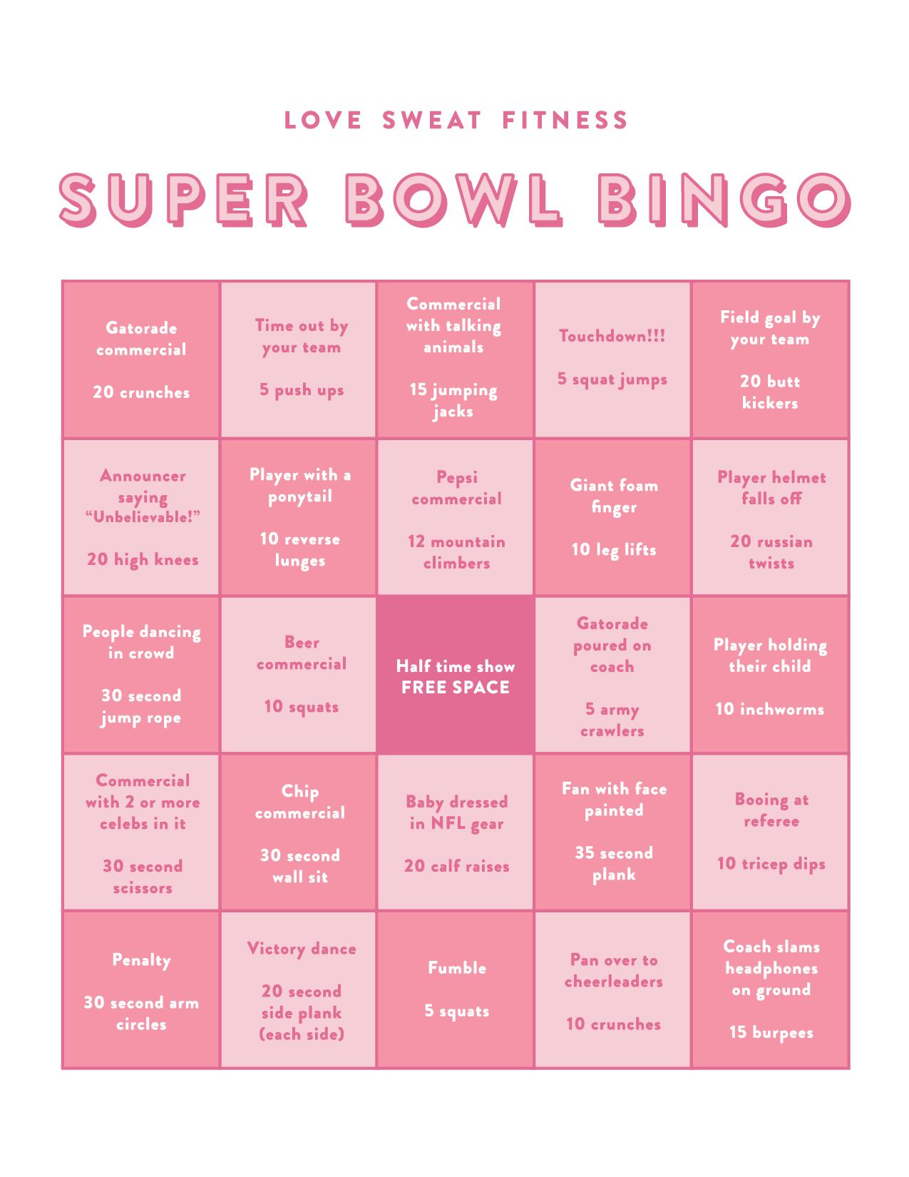 cute super bowl bingo game, super bowl 2020, play a super bowl game