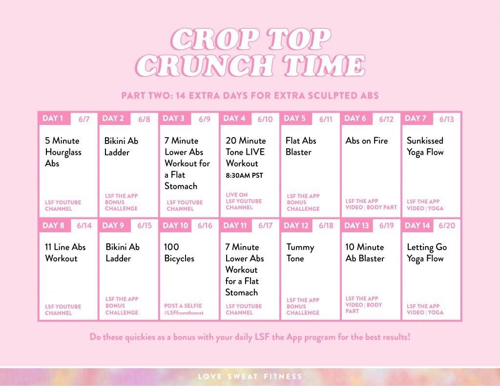 2 week abs challenge calendar, tone your abs, summer abs
